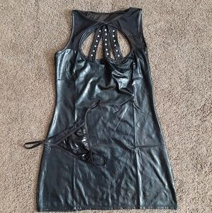 Faux Leather Mini Dress with Thing Sz S